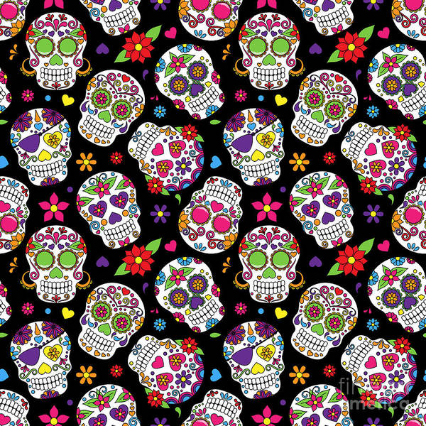 Graveyard Wall Art - Digital Art - Day Of The Dead Sugar Skull Seamless by Pinkpueblo