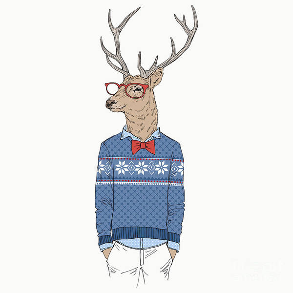 Wall Art - Digital Art - Deer Dressed Up In Jacquard Pullover by Olga angelloz