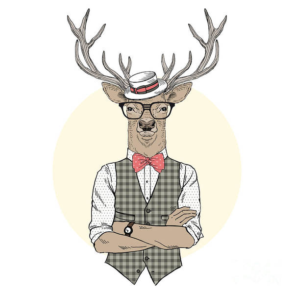 Wall Art - Digital Art - Deer Man Dressed Up In Retro Style by Olga angelloz