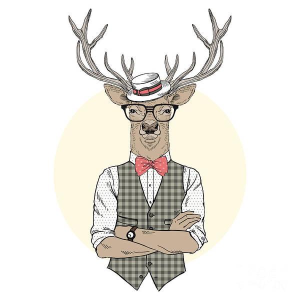 Wall Art - Digital Art - Deer Man Dressed Up In Retro Style by Olga angelloz