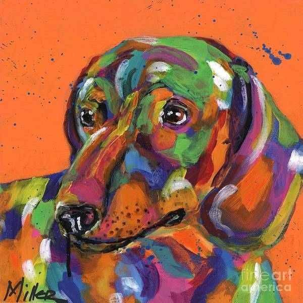 Wall Art - Painting - Denny Dachshund by Tracy Miller