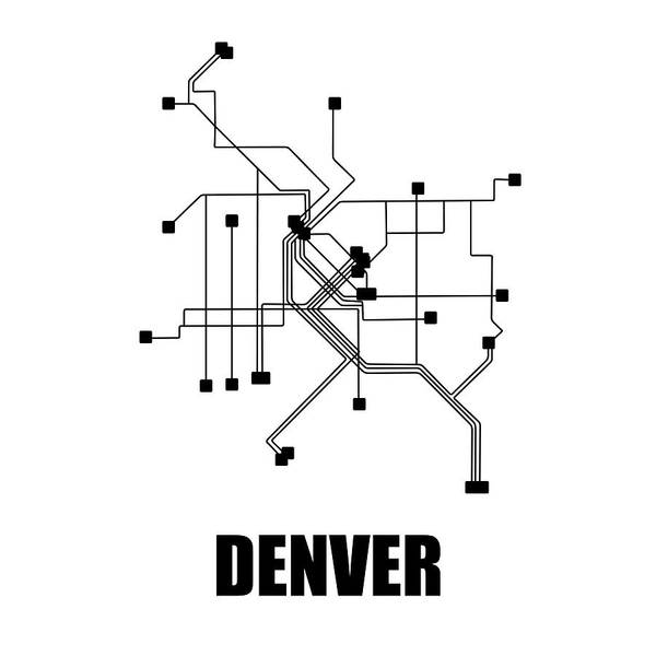Wall Art - Digital Art - Denver White Subway Map by Naxart Studio