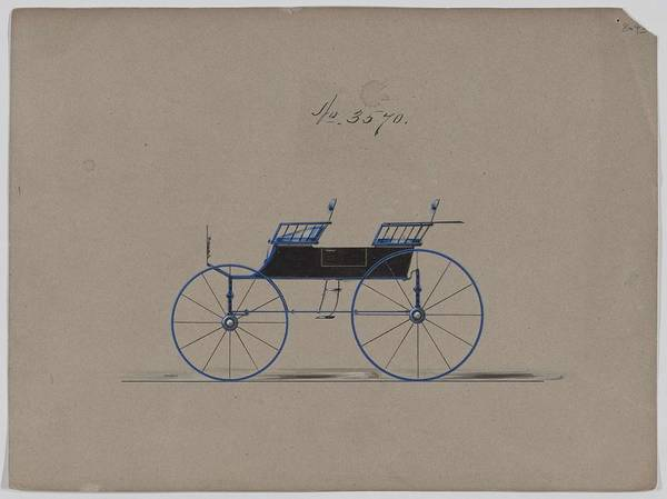 Classic Car Drawings Painting - Design For 4 Seat Phaeton, No Top, No. 3570 1880 by MotionAge Designs
