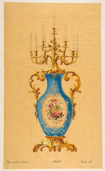 Scandinavian Style Painting - Design For A Porcelain Candelabra   Anonymous, French, 19th Century by MotionAge Designs