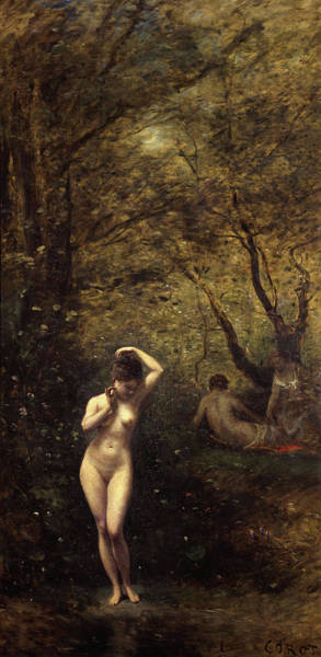 Artemis Wall Art - Painting - Diana Bathing, The Fountain by Jean-Baptiste-Camille Corot