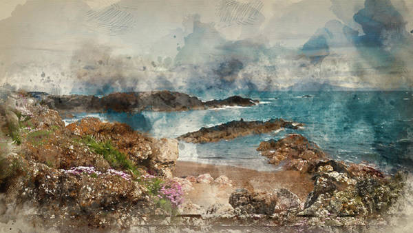 Wall Art - Photograph - Digital Watercolor Painting Of Beautiful Landscape Image Of Rock by Matthew Gibson