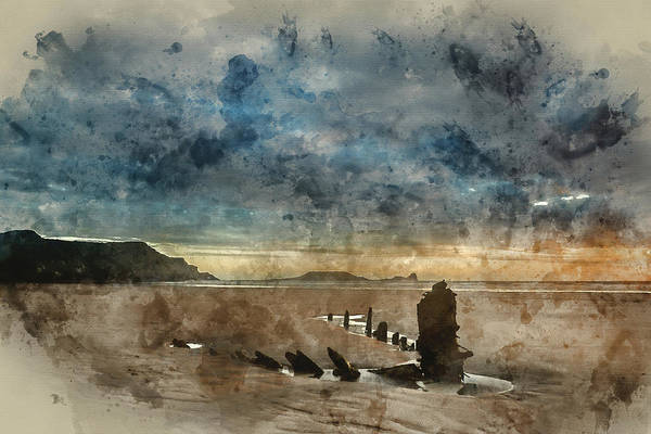 Wall Art - Photograph - Digital Watercolor Painting Of Landscape Image Of Old Shipwreck  by Matthew Gibson