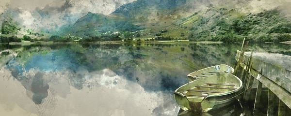 Wall Art - Photograph - Digital Watercolor Painting Of Panorama Landscape Rowing Boats O by Matthew Gibson