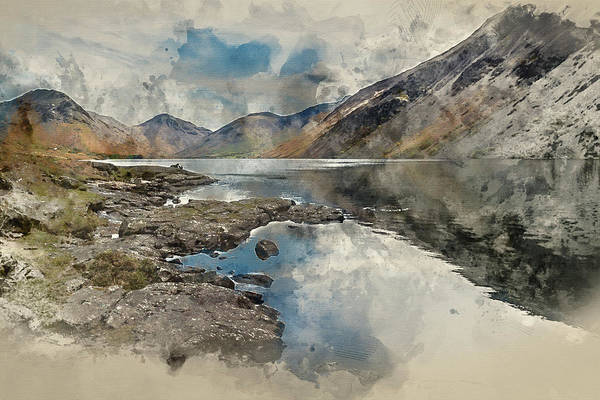 Wast Wall Art - Photograph - Digital Watercolour Painting Of Stunning Landscape Of Wast Water by Matthew Gibson