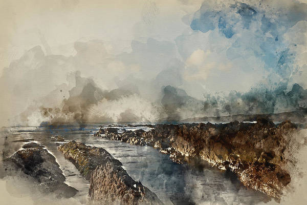 West Wales Photograph - Digital Watercolour Painting Of Stunning Sunset Landscape Image  by Matthew Gibson