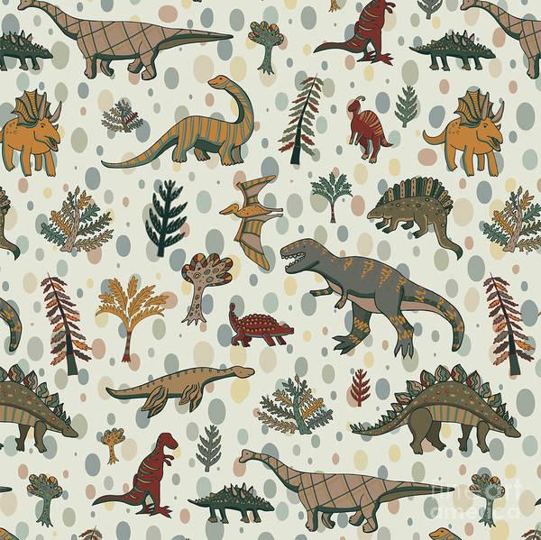 Wall Art - Digital Art - Dinosaur Pattern by Goosefrol