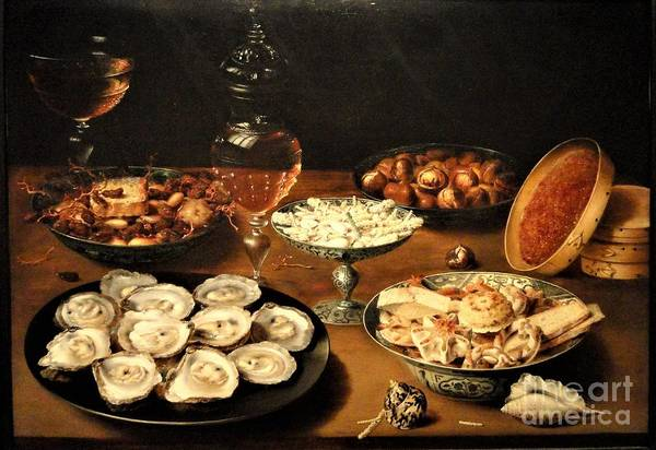 0 Painting - Dishes Oysters Fruit Wine by Reproduction