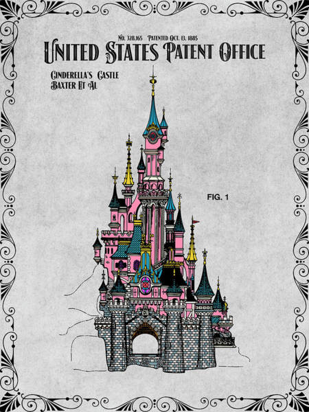 Wall Art - Drawing - Disney Cinderella's Castle Gray Colorized Patent Print by Greg Edwards