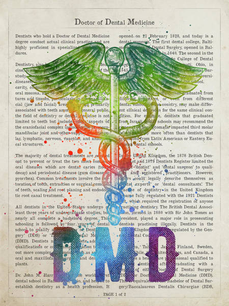 Wall Art - Photograph - Doctor Of Dental Medicine Gift Idea With Caduceus Illustration 0 by Aged Pixel