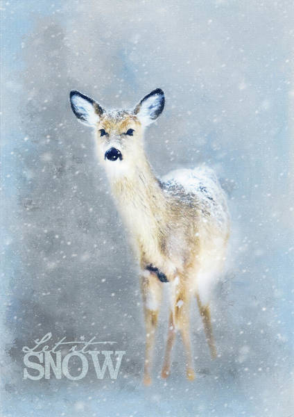 Woodland Animals Mixed Media - Doe In The Snow by Amanda Lakey
