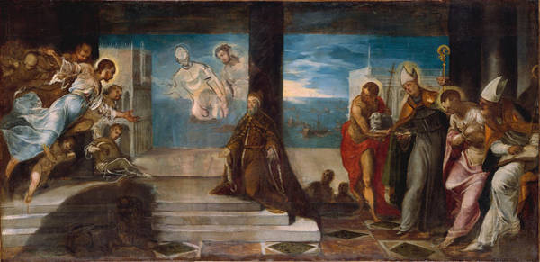 Redeemer Wall Art - Painting - Doge Alvise Mocenigo Presented To The Redeemer by Tintoretto