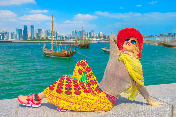 Photograph - Doha Seafront Happy Woman by Benny Marty