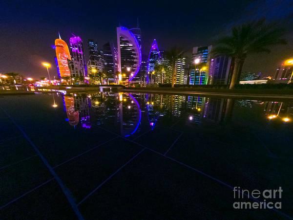 Photograph - Doha Skyline Night by Benny Marty