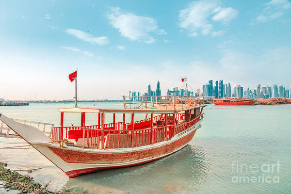 Photograph - Doha Skyline With Dhow by Benny Marty