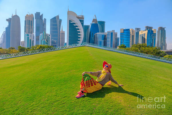 Photograph - Doha Skyscrapers Woman by Benny Marty