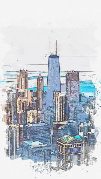 Lake District Painting - downtown chicago, watercolor by Adam Asar by Celestial Images