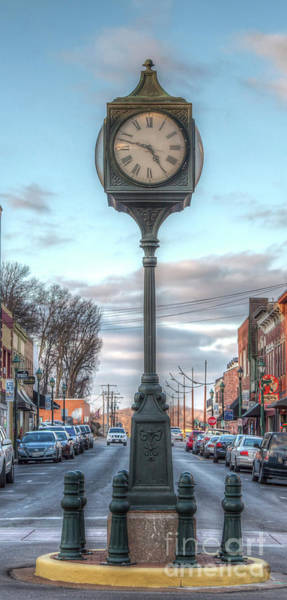Wall Art - Photograph - Downtown Clock Looking North by Larry Braun