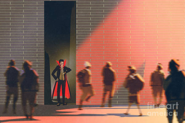 Late Wall Art - Digital Art - Dracula Hiding In Narrow Alley From by Tithi Luadthong