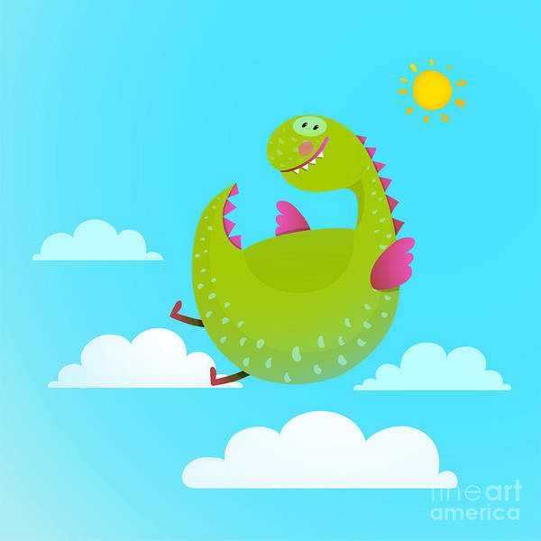 Wall Art - Digital Art - Dragon Flying In Sky Colorful Cartoon by Popmarleo