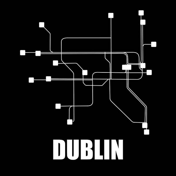 Wall Art - Digital Art - Dublin Black Subway Map by Naxart Studio