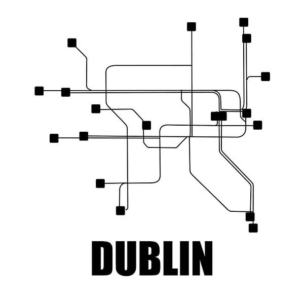 Wall Art - Digital Art - Dublin White Subway Map by Naxart Studio