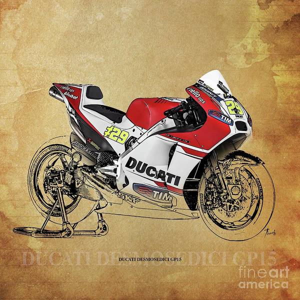 Wall Art - Drawing - Ducati Desmosedici Gp15 by Drawspots Illustrations