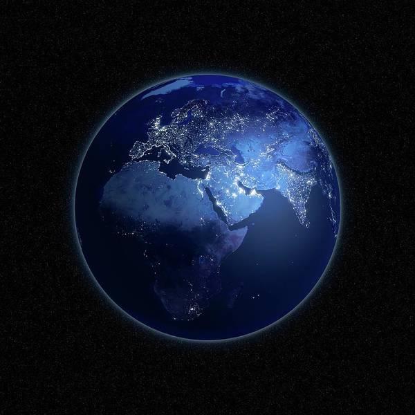 Square Digital Art - Earth At Night, Artwork by Science Photo Library - Andrzej Wojcicki