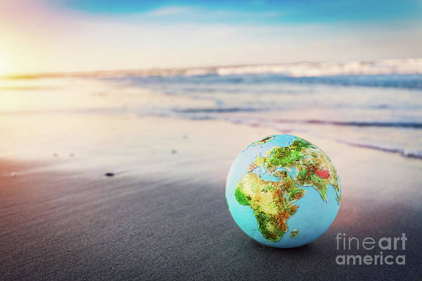 Wall Art - Photograph - Earth Globe On The Beach. by Michal Bednarek