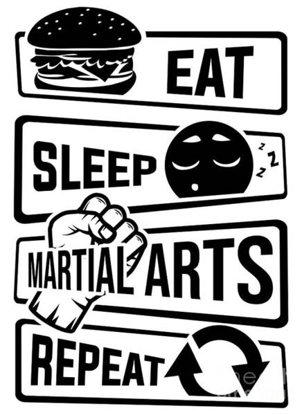 Capoeira Digital Art - Eat Sleep Martial Arts Repeat Martial Art Fight by Mister Tee