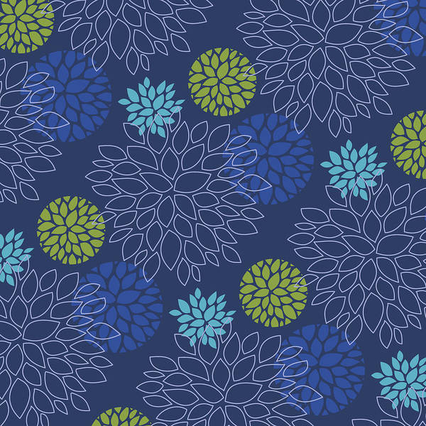 Digital Art - Eclipse Blue Floral Pattern by Garden Gate magazine