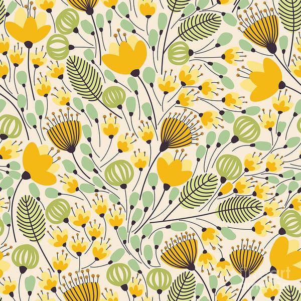 Wall Art - Digital Art - Elegant Seamless Pattern With Yellow by Maria galybina