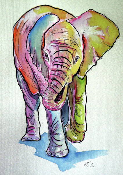 Wall Art - Painting - Elephant Baby by Kovacs Anna Brigitta
