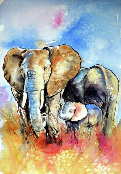 Wall Art - Painting - Elephant Family by Kovacs Anna Brigitta
