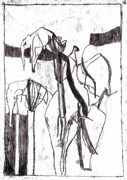 Drawing - Elephants by Artist Dot