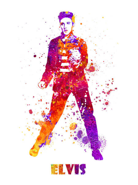 Blob Painting - Elvis Presley Dancing Jailhouse Rock Watercolor Splatter 02 by JESP Art and Decor