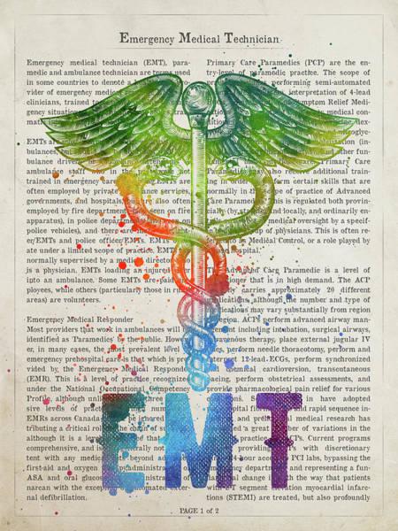 Wall Art - Digital Art - Emergency Medical Technician Gift Idea With Caduceus Illustratio by Aged Pixel