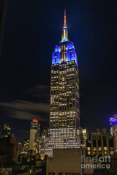 Photograph - Empire State Building Panorama At Night by Thomas Marchessault