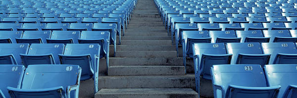 Wall Art - Photograph - Empty Blue Seats In A Stadium, Soldier by Panoramic Images