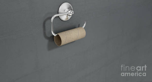 Wall Art - Digital Art - Empty Toilet Roll On Chrome Hanger by Allan Swart