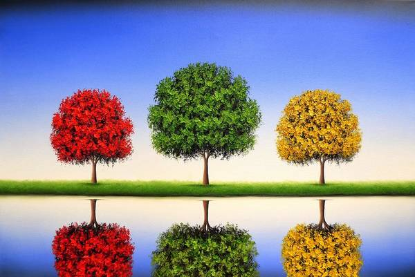 Blooming Tree Painting - Endless Blue by Rachel Bingaman