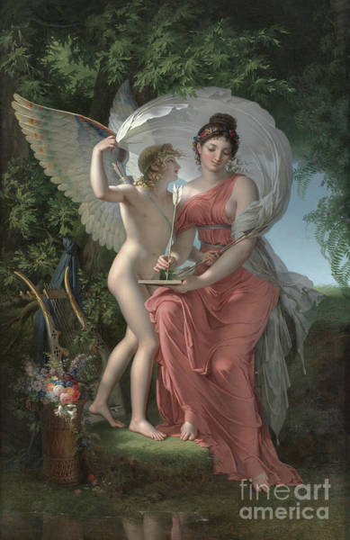 Wall Art - Painting - Erato, Muse Of Lyrical Poetry, 1800 by Charles Meynier