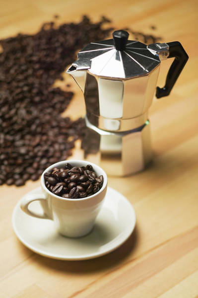 Coffee Photograph - Espresso Coffee Maker And Coffee Beans by Lucidio Studio, Inc.
