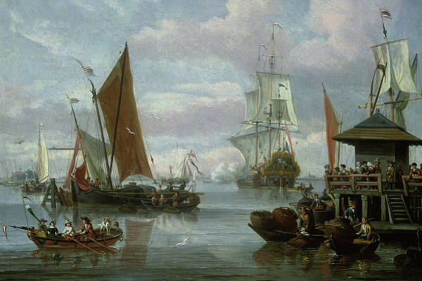 Wall Art - Painting - Estuary Scene With Boats And Fisherman by Johannes de Blaauw