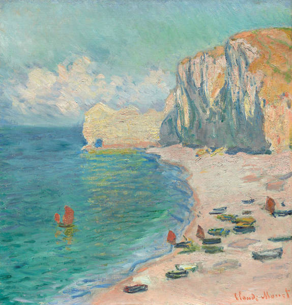 Wall Art - Painting - Etretat - The Beach And The Falaise D'amont by Claude Monet