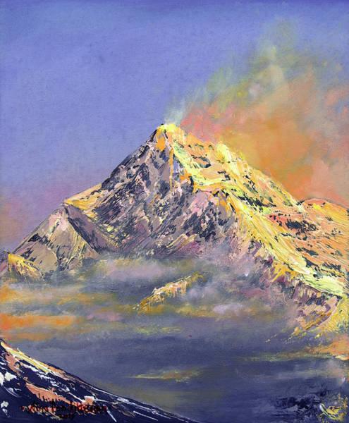 Tibetan Mastiff Painting - Everest After Sunset by Nino Ponditerra